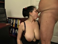 old boss gives extra work for his busty secretary