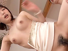 Asian hot babe gives a blowjob and rides a hard rod in cowgirl pose.