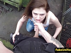 Romanian brit amateur spunked in mouth by cop