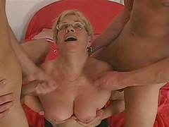Horny granny can't get enough of these two big cocks