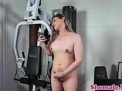 Chubby ts jerking off after workout