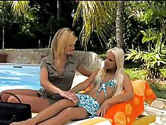 Awesome Lesbian Action Outdoors By The Pool with Two Hot Blondes