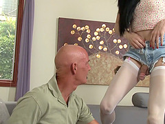Tranny temptress in white stockings needs to be dicked down