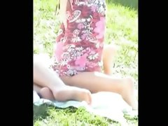 Bare picnic pussy in the park voyeur candid film