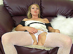 Beautiful blonde MILF Abigail Toyne masturbates in black high heels