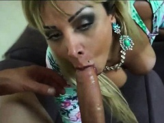 Blonde shemale hooker gets mouth fucked