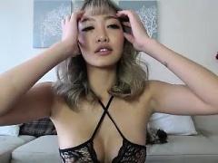 Blonde lingerie masturbation