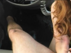 Red hair woman gives a nice sloppy blowjob inside the car