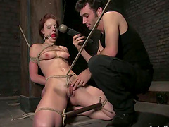 Riley Shy gets tied up to the post and fucked hard