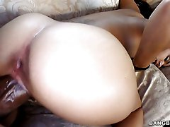 Monster black dick stretches Angelina Stoli's white pussy in interracial fuck clip
