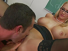 Extra Large Cock Gets Extra Credits with Busty Blonde Teacher Blake Rose