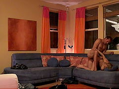 Banging Blonde Alexia Rae's Brains Out in the Living Room in Homemade Vid
