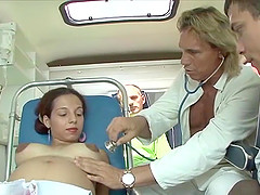 wild ambulance groupsex fuck orgy with two extreme pregnant babes