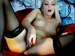 Smoking Hot Blonde Plays With Dildo on Cam