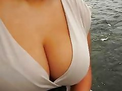 Huge tits amateur fuck and facial in public