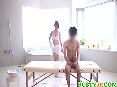 Special japanese sauna massage with hot Asian babe