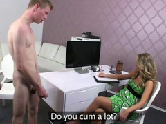 Hairy female agent fucks guy on casting