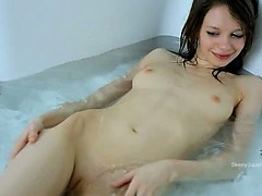 rawboned girl opening vagina in the bath