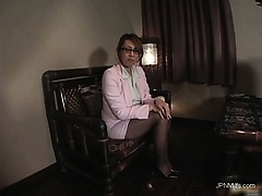 Gorgeous asian milf takes off his pants