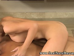 Blonde masseuse slut sucks on cock