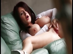 Woman with big tits maturbating