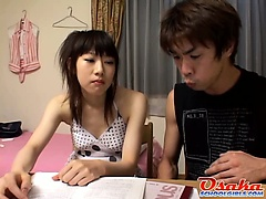 Sakura finds herself naked on the bed with the tutor