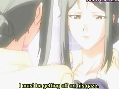 Anime teacher with big boobs getting facial
