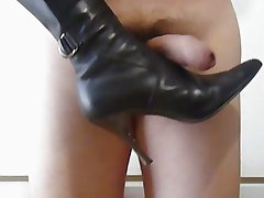 More cock kicking (with black boots)